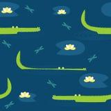 Modello senza cuciture sveglio di vettore con i coccodrilli disegnati a mano Fotografia Stock Libera da Diritti