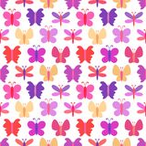 Modello senza cuciture sveglio di vettore della farfalla variopinta Immagine Stock