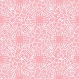 Modello senza cuciture sveglio di vettore Passi il pizzo di disegno del fiore bianco su fondo rosa fotografie stock libere da diritti