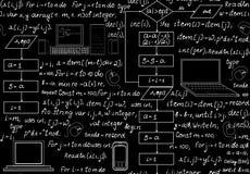Modello senza cuciture tecnico di programmazione con il codice di programmazione, gli organigrammi di programma, le formule, i di Fotografie Stock Libere da Diritti