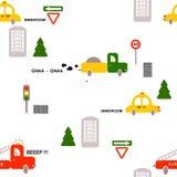 Modello senza cuciture: trasporto: automobili, pompieri, camion, segni, case, alberi su un fondo bianco Vettore piano royalty illustrazione gratis