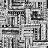 Modello senza cuciture tribale geometrico strutturato a strisce astratto Fondo in bianco e nero di vettore La struttura senza fin Fotografia Stock