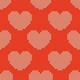 Modello senza cuciture tricottato rosso di giorno di biglietti di S. Valentino Immagine Stock Libera da Diritti