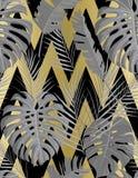 Modello senza cuciture tropicale con le foglie di palma esotiche illustrazione di stock