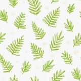 Modello senza cuciture tropicale con le foglie di palma Fogliame esotico dell'albero fatto nello stile della spazzola Vettore Fotografie Stock Libere da Diritti