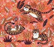 Modello senza cuciture tropicale con le tigri divertenti nello stile del fumetto Illustrazione di vettore illustrazione di stock