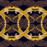 Modello senza cuciture tropicale esotico animale con i leopardi, ghepardi Tessuto, carta da parati, fondo, progettazione Vettore illustrazione vettoriale