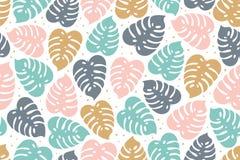 Modello senza cuciture tropicale nei colori pastelli Progettazione tropicale di estate con le foglie esotiche di monstera Progett royalty illustrazione gratis
