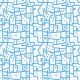 Modello senza cuciture urbano astratto blu-chiaro Paesaggio con gli isolati Fondo di vettore Fotografie Stock Libere da Diritti
