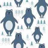 Modello senza cuciture variopinto con gli orsi blu, abeti illustrazione vettoriale