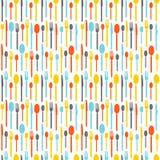 Modello senza cuciture variopinto con le siluette della coltelleria Carta da parati con le siluette colorate della coltelleria Fo Fotografie Stock