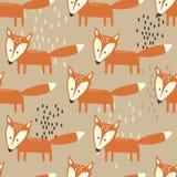 Modello senza cuciture variopinto con le volpi Fondo sveglio decorativo con gli animali illustrazione vettoriale