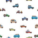 Modello senza cuciture variopinto dei camion e delle automobili Veicoli, vista laterale Priorità bassa bianca Illustrazione di ve Fotografia Stock Libera da Diritti