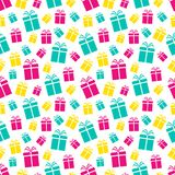 Modello senza cuciture variopinto dei contenitori di regalo Fondo di feste Icone attuali piane colorate Ripeti la struttura Illus royalty illustrazione gratis