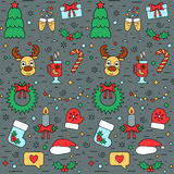 Modello senza cuciture variopinto del nuovo anno e di Natale con gli attributi tradizionali nella linea stile Vettore illustrazione di stock