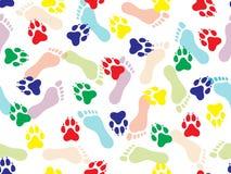 Modello senza cuciture variopinto dell'impronta dei piedi umani nudi e dell'animale su fondo bianco Illustrazione di vettore illustrazione di stock