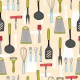 Modello senza cuciture variopinto di articolo da cucina Pentole, fondo di cottura domestica Stile disegnato a mano Immagine Stock Libera da Diritti