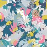 Modello senza cuciture variopinto di vettore con le piante tropicali, fiori uccelli, struttura dipinta a mano illustrazione vettoriale