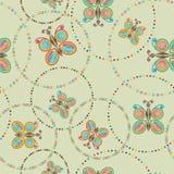 Modello senza cuciture verde chiaro con la farfalla variopinta nei cerchi Illustrazione di Stock
