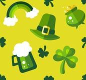 Modello senza cuciture verde e giallo del giorno di St Patrick Fotografie Stock Libere da Diritti