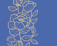 Modello senza cuciture verticale reale delle foglie e dei fiori Fotografie Stock