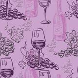 Modello senza cuciture - vino e vinificazione Royalty Illustrazione gratis