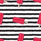 Modello senza fine variopinto del gelato su un fondo a strisce dentro illustrazione di stock