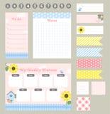 Modello settimanale del pianificatore Organizzatore e programma con le note e fare lista royalty illustrazione gratis