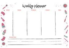 Modello settimanale del pianificatore per attività quotidiana Organizzatore con per fare programma di vettore della lista nello s royalty illustrazione gratis