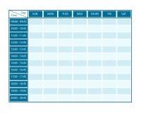 Modello settimanale per sette giorni con la cronologia Fotografia Stock