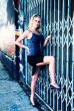 Modello sexy sulla rete fissa Fotografie Stock