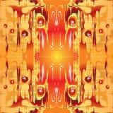Modello simmetrico astratto su fondo arancio illustrazione vettoriale