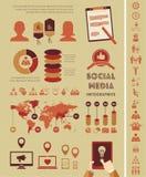 Modello sociale di Infographic di media. Fotografia Stock Libera da Diritti