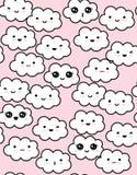 Modello sorridente lanuginoso bianco sveglio di vettore delle nuvole Fondo rosa illustrazione di stock