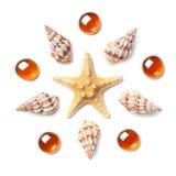 Modello sotto forma di cerchio fatto delle coperture, delle stelle marine e del ora Fotografie Stock Libere da Diritti