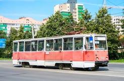 Modello sovietico 71-605 del tram Fotografie Stock