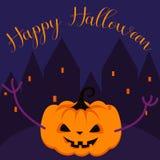 Modello spettrale felice di vettore della cartolina d'auguri della zucca di Halloween illustrazione vettoriale
