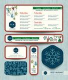 Modello stabilito del menu del ristorante della festa di Natale Fotografia Stock Libera da Diritti