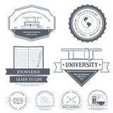 Modello stabilito dell'etichetta di istruzione dell'elemento dell'emblema per Fotografia Stock