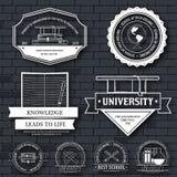 Modello stabilito dell'etichetta di istruzione dell'elemento dell'emblema per il vostro prodotto o progettazione, del web e delle Fotografia Stock Libera da Diritti