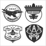 Modello stabilito di progettazione di vettore dell'emblema militare dell'aeronautica Fotografie Stock Libere da Diritti