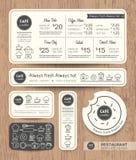Modello stabilito di progettazione grafica del menu del caffè del ristorante Fotografia Stock Libera da Diritti