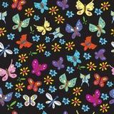 Modello Stampa-scandinavo con le farfalle, fiori illustrazione di stock