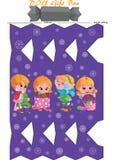 Modello stampabile del contenitore di regalo DIY Bambino della ragazza e modello svegli di inverno dei fiocchi di neve royalty illustrazione gratis