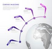 Modello startup di vettore di cronologia delle pietre miliari di Infographic Immagine Stock