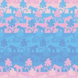 Modello a strisce di vettore senza cuciture con il rosa e unicorni e fiori blu illustrazione vettoriale