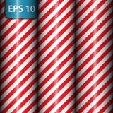 Modello a strisce diagonale geometrico astratto con le bande rosse e bianche Illustrazione di vettore Immagini Stock Libere da Diritti