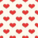 Modello strutturato del cuore rosso senza cuciture Immagini Stock