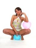 Modello su cuore blu Fotografia Stock Libera da Diritti