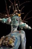 Modello su un festival di corpo-arte Fotografia Stock